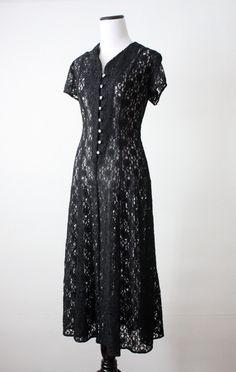 vintage black lace dress.