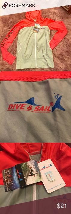🆕 Dive & Sail🏄🏼‍♀️Coral/Gray Surf Jacket🏄🏼‍♀️ Look amazing on your board with this Dive & Sail Surf Jacket in coral/ Gray. The jacket is brand new and comes with the original tags. The tags are in what appears to be Chinese so I am not sure what it is made from but it is stretchy :) Please see the images for details! 🦋 Thank you for visiting my closet 🦋 🛍 Bundle and save 20%!! 🐙 This item comes from a pet- free home 🚭This item comes from a smoke- free home 🤔 Please feel free to…