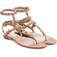 Valentino Rolling Rockstud Embellished Leather Sandals ($740) ❤ liked on Polyvore featuring shoes, sandals, beige, beige leather sandals, low heel shoes, embellished leather sandals, strappy leather sandals and beige shoes