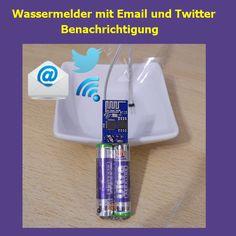 Wassermelder mit Email- Twitter- Alarmmeldung. Alarmmeldung erfolgt über WLAN per Email, Twitter oder sonstige Dienste die der PushingBox unterstützt. Internet of Things Selbstbau. Wasseralarm, Wassereinbruch, Wasserfühler, Basteln, Schaltplan, Adruino, Funkfernsteuerung,Home Automation, Fernsteuerung