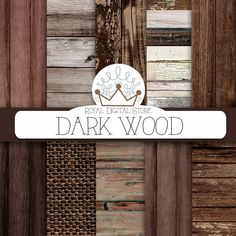 """Wood digital paper: """"DARK WOOD"""" with wood background, wood texture, rustic wood, wood scrapbook paper, burlap for planners, scrapbooking #distressedwood #woodtexture #digitalpaper #scrapbookpaper #planner #shabbychic #texture"""