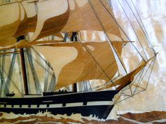 Vntg Large Marquetry Wooden Clipper Sailing Ship