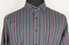 Thomas Dean Mens Long Sleeve Multi-Color Striped Casual Dress Shirt sz XL #ThomasDean #ButtonFront