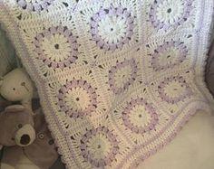 Lilac baby blanket, granny square blanket, girls crochet blanket