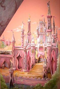 castle mural for girls bedroom