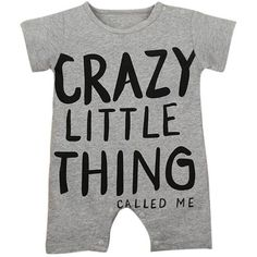 """""""Crazy Little Thing"""" Short Sleeves Baby Romper"""