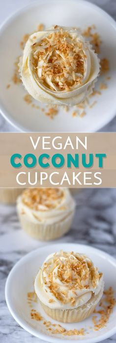 These Vegan Coconut Cupcakes are absolutely divine! These easy cupcakes are topped with a smooth vegan buttercream and freshly toasted coconut! Mini Cupcakes, Kokos Cupcakes, Cupcakes Amor, Coconut Cupcakes, Vegan Cupcake Recipes, Coconut Recipes, Baking Recipes, Vegan Recipes, Pastries