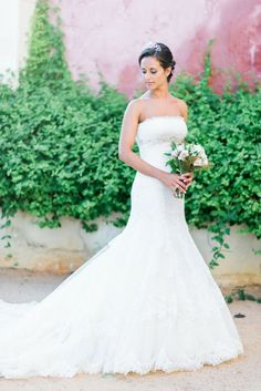 Strapless Trumpet Wedding Gown with train by Aire Barcelona. www.StyleMePretty... Photography: LoveIsMyFavoriteC...