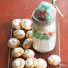 Festive green and red gumdrops make these easy cookies perfect for the holidays. Layer pieces of white chocolate in the jar; they'll melt atop the baked goods. Perfect for gift giving or on your desert tray for the holidays.