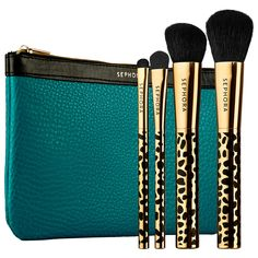 SEPHORA COLLECTION - Gold Den Brush Set: A luxurious four-piece brush set with a leopard-print theme that comes in a teal, faux leather pouch.