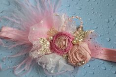 Pink and Gold Headband Rosette Hair Accessory by AldonasBoutique  https://www.etsy.com/listing/211670454/pink-and-gold-headband-rosette-hair