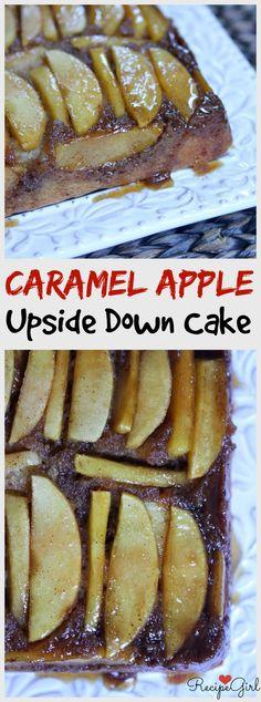 Make swirled rose pattern with apple slices -  Caramel Apple Upside Down Cake - Easy fall dessert recipe!