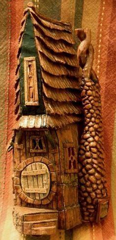 Cottonwood Bark house carved by N. Minske w/opening door and electric lights.