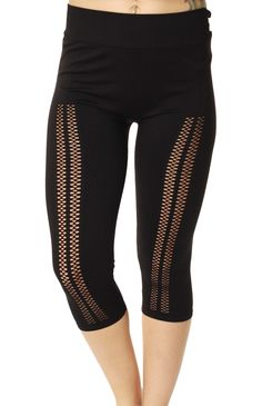 Item Features: -Materials: 94% Nylon/6% Spandex -Elastic Waistband -Drop Needle Art On Front of Legs