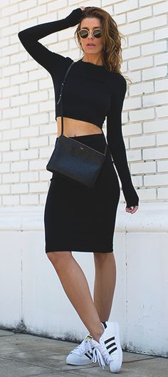 Black Scuba Top and Skirt