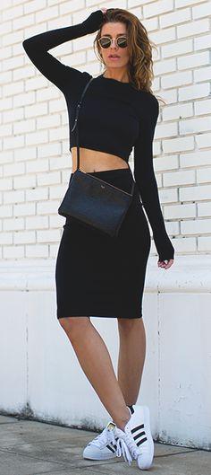Black Scuba Top and Skirt