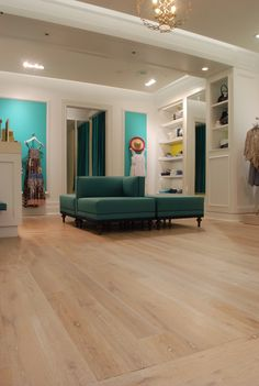 ALABASTER flooring and display from reSAWN TIMBER co.'s RUSTIC MODERN Collection - New White Oak prefinished with ALABASTER Hardwax Oil finish