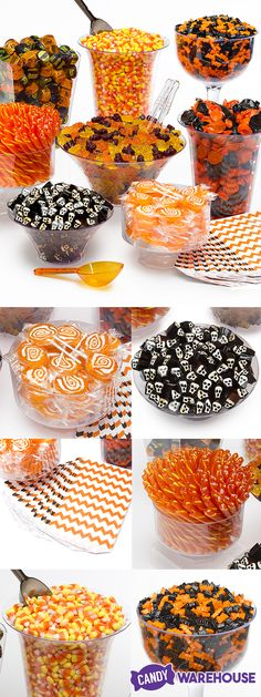 Everything here comes in our One-Click Halloween Candy Buffet Kit--even the scoops and bowls! Imagine how great it would look spread out at this year's Halloween party. Halloween Candy Buffet, Soirée Halloween, Halloween Goodies, Halloween Food For Party, Halloween Birthday, Holidays Halloween, Halloween Treats, Holiday Treats, Holiday Recipes