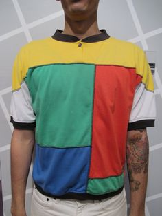 80s Cotton Mondrian Color Block Mens Polo Style T by kokorokoko, $28.00