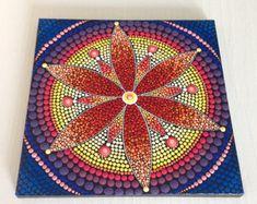 Gran pintura de Mandala Original de Dotart rojo 30x30cm en
