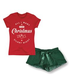 Look what I found on #zulily! Red 'Christmas Silent Night' Fitted Tee & Green Shorts #zulilyfinds