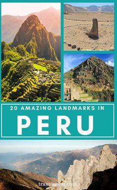 20 Incredible Landmarks in Peru. The most famous landmark in Peru is Machu Picchu, which is also one of the most visited landmarks in South America. Peru is also filled with stunning vistas and natural landscapes, ranging from high climbs to only be undertaken with a guide or significant experience, to gentler walks to awe-inspiring canyons. #machupicchu #travel #peru #southamerica Colombia Travel, Peru Travel, World Travel Guide, Travel Tips, Fun Travel, Lake Titicaca, Famous Landmarks, Nazca Lines, South America Travel