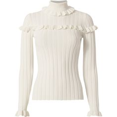 Tate Ivory Ruffle Rib Turtleneck (82.860 HUF) ❤ liked on Polyvore featuring tops, sweaters, ivory, ribbed knit sweater, ribbed sweater, ivory turtleneck sweater, ribbed turtleneck sweater and winter white sweater