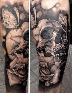 Matteo Pasqualin skull tattoo