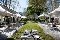 Grande Provence boasts world-class cuisine, fine wine and gorgeous art. More estates await you on the Franschhoek Winetram. Restaurants Outdoor Seating, Outdoor Restaurant, Outdoor Seating Areas, Great Restaurants, American Express Platinum, Fine Hotels, Street House, Round House, Cape Town