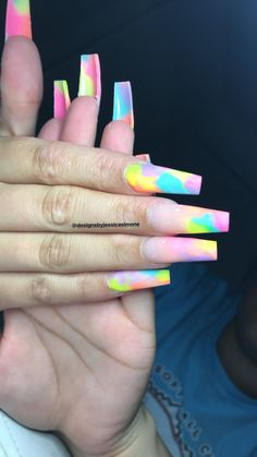 25 trendy nails design for kids cute Claw Nails, Aycrlic Nails, Dope Nails, Best Acrylic Nails, Acrylic Nail Designs, Gorgeous Nails, Pretty Nails, Tie Dye Nails, Pretty Nail Designs