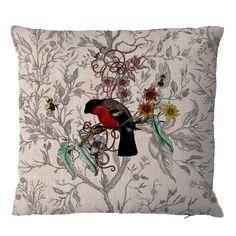 Timorous Beasties loves British Birds! Bullfinch Cushion