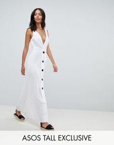 ASOS DESIGN Tall plunge city maxi with button front detail