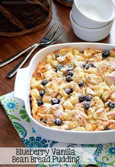 Joyously Domestic: Blueberry Vanilla Bean Bread Pudding