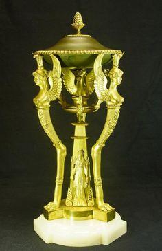Grand Brûle-parfum En Athénienne En Bronze à 2 Patines 19ème