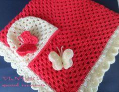 Crochet Baby Hats Crochet Baby Blanket and Hat Granny Square, Blanket, Baby Ha... Check more at https://www.newbornbabystuff.com/crochet-baby-hats-crochet-baby-blanket-and-hat-granny-square-blanket-baby-ha/