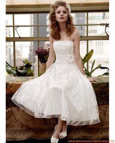 2013 Neue kurze Brautkleider aus Organza und Satin A-Linie teelang