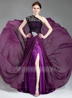 A-Line/Princess One-Shoulder Court Train Chiffon Lace Evening Dress With Beading Split Front (017019739) - JJsHouse