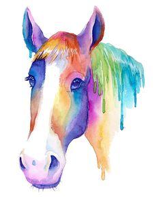 Bunte Pferd Aquarell Druck abstrakt Malerei von TheColorMaven
