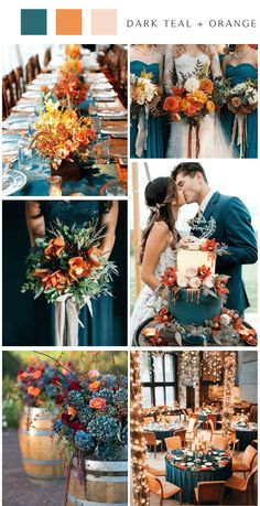 Teal and Orange Country Chic Wedding, Teal Bridesmaid Dresses Fall Wedding Colors, Wedding Color Schemes, Country Wedding Colors, Orange Wedding Colors, Chic Wedding, Dream Wedding, Wedding Ideas, Wedding Themes, Perfect Wedding