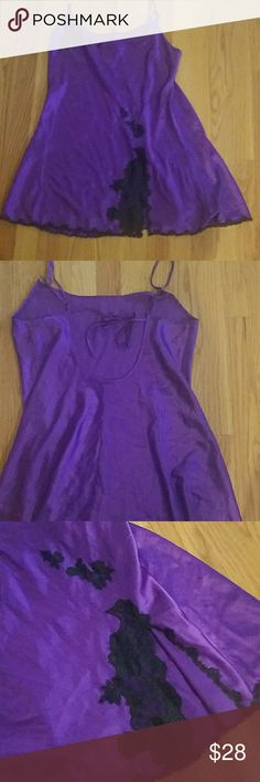 "Vintage VS Chemise. EUC. Vintage VS Chemise. EUC. This is a re posh. I love this however it is too short on me. I am 5'8"". Purple with black lace. Bust: I am a 38C and it fits as the back is open with a tie. See picture 2. I would say that it would not accomodate a larger bust. Anything 38C or smaller. It does also have adjustable straps. Length from shoulder to hem: varies due to adjustable straps but at its longest is: 30"" Victoria's Secret Intimates & Sleepwear Chemises & Slips"