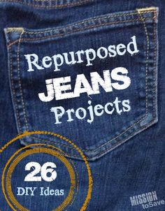 Roundup of Repurposed Jeans Projects.  Check out more than 25 ways to repurpose and upcycle jeans.