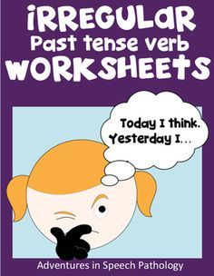 """The originals were downloaded from my blog over 49,000 times, but I've spruced these Irregular Past Tense Verb Worksheets up. They follow a simple structure with an image and sentence completion task:""""Today I think. Yesterday I...""""Contains 6 pages with 60 different irregular past verbs in total."""