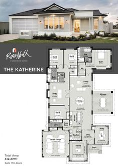 The Katherine is a stylish and sophisticated home that is one of a kind in . Dream House Plans, Modern House Plans, Modern House Design, House Floor Plans, Luxury Kitchen Design, Best Kitchen Designs, House Plans Australia, Display Homes, Story House