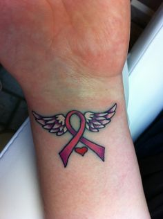 Pink ribbon tattoo on the inside of my left wrist
