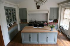 Handpainted Georgian Kitchen by Wardour Workshops, Dorset. Fitted into alcoves