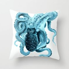 Octopus Pillow  Cover Vintage Octopus Art Coastal by VintageBeach