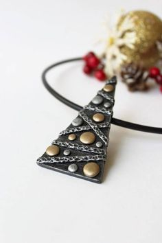 Polymer Clay Jewelry Pendant Necklace Christmas Tree Silver