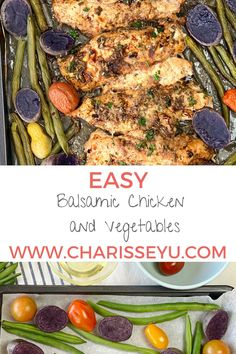 Sweet, tangy and juicy. Those are the words that describe this easy balsamic sheet pan chicken. Best of all the clean up is a breeze since you can cook it in one sheet pan along with sides. In less than half an hour, you'll have a tasty meal on the table. Easy Toddler Meals, Easy Meals For Kids, Quick Easy Meals, Kids Meals, Healthy Family Dinners, Easy Weeknight Dinners, Chicken And Vegetables, One Pot Meals, Kid Friendly Meals
