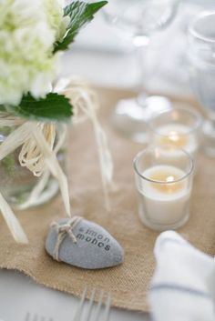 DIY placecard rocks #wedding