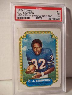 1974 Topps O.J. Simpson PSA EX 5 Football Card #1 NFL HOF Collectible #BuffaloBills